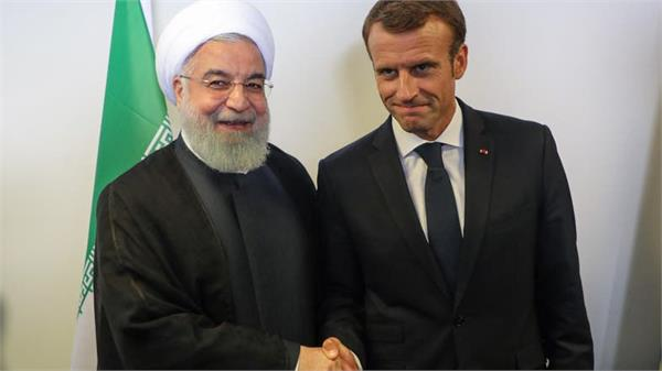 macron rouhani talk about de escalating iran us tensions