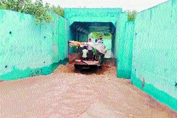 water filled in railway underpass broken contact with many villages