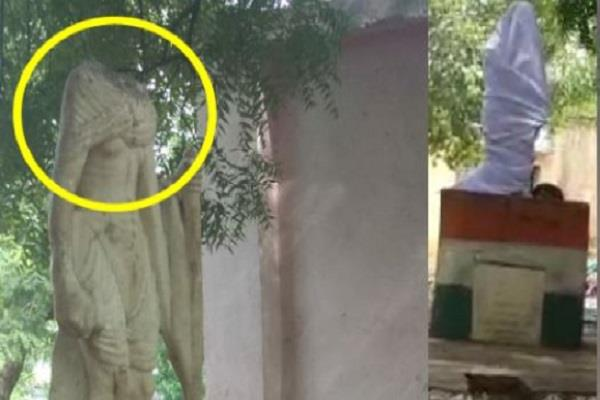 anti social elements broke the statue of mahatma gandhi