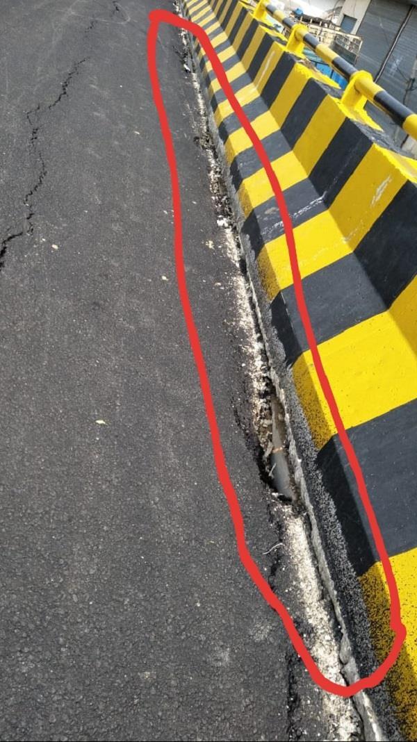 road cracks on the newly built over bridge