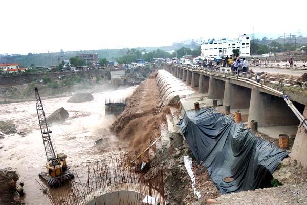 temporary bridge demolished