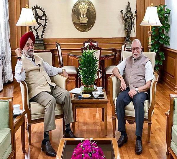 hardeep singh puri meets governor over tughlakabad temple dispute