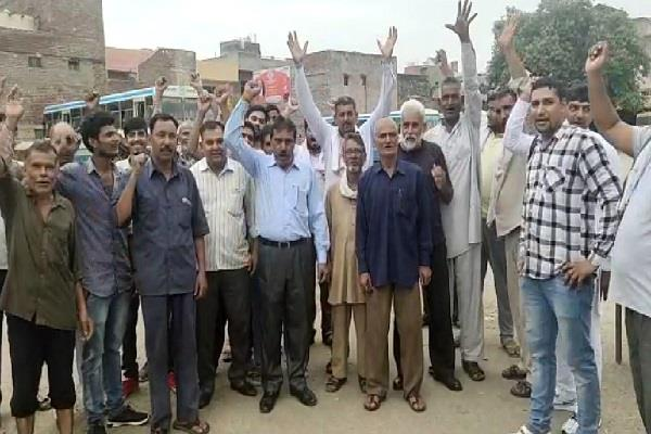 roadways employees thronged with demands demonstrated at bus stand