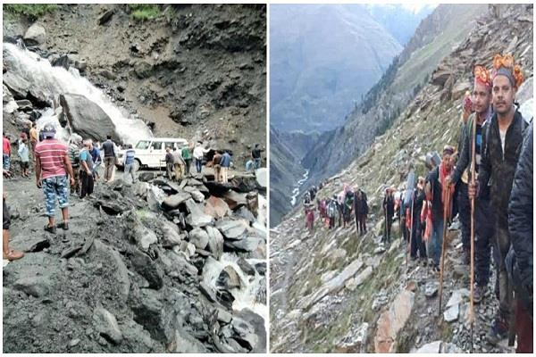 bharmour harsar route restored as soon as for manimahesh batch of devotees
