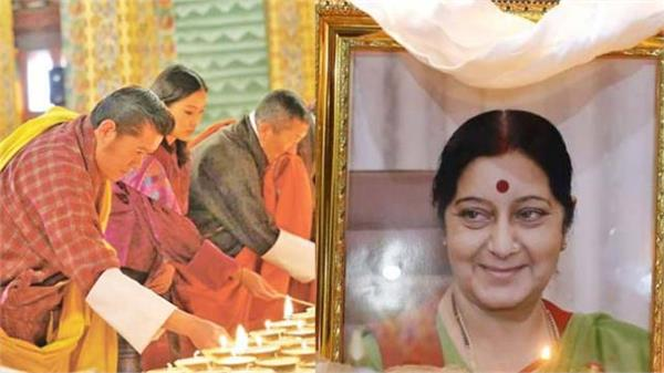 bhutan king lights thousand lamps in memory of swaraj offers prayers