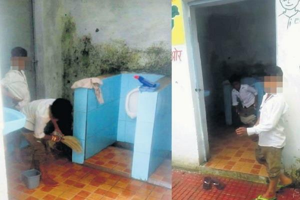 head teacher cleans toilets from fourth grade students