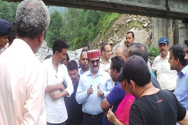 govind thakur took stock of flood affected areas of kullu