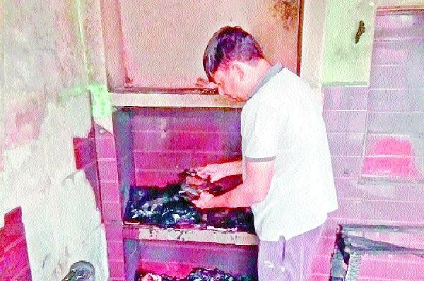 fire at sarpanch house record burnt