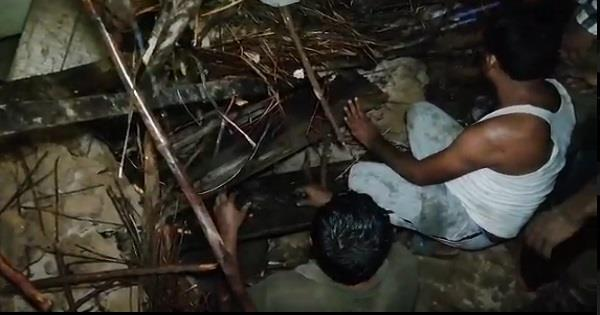65 year old man buried under rubble