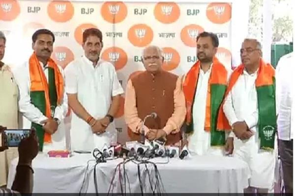 bjp has another stroke in haryana three more mlas stopped