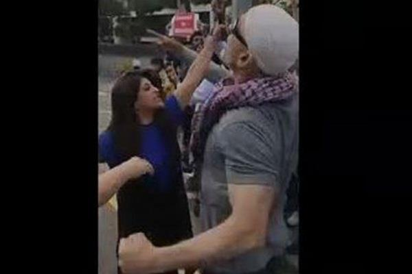 bjp leader shazia ilmi clashed with pakistani protesters in south korea