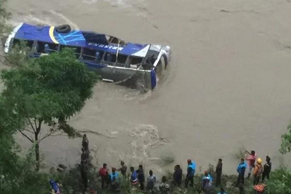 nepal trishuli river bus fell 5 dead 16 injured missing news