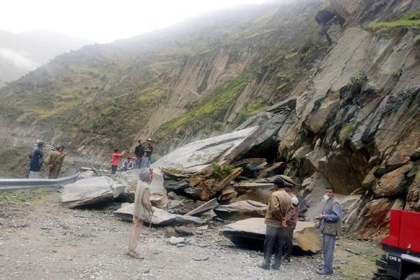 landslide on road