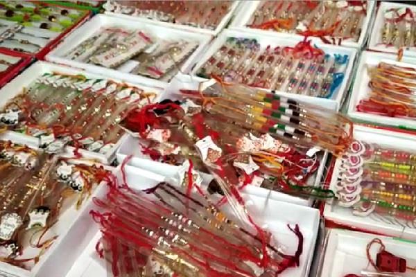 tiranga and vande matram rakhis in market for raksha bandhan festival