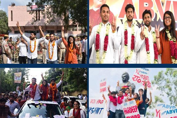 abvp sweeps delhi university polls wins three seats nsui bags one