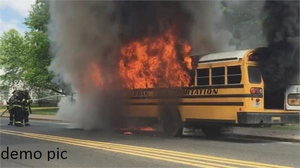 fire caused by short circuit of bus battery buses burnt