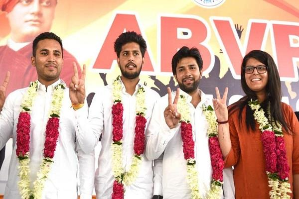 abvp leading in all four seats of dusu central panel