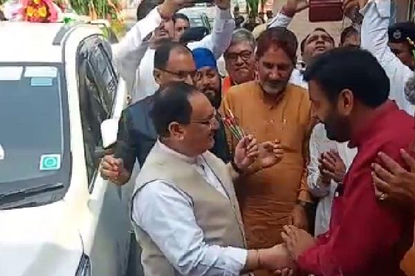 jp nadda arrives at kurukshetra cm welcomes
