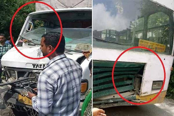 collision between hrtc bus and truck