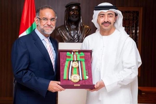 uae confers honor on outgoing indian envoy