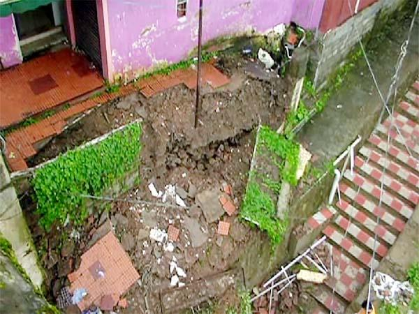 part of ridge ground fall from heavy rain in shimla