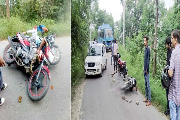 collision between 2 bike 3 injured