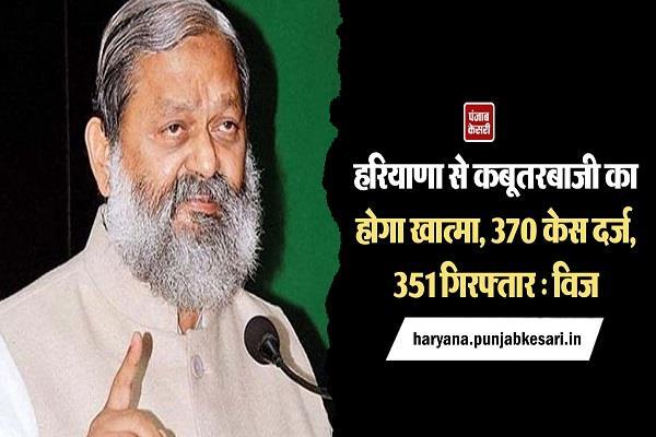 haryana 370 cases registered 351 arrested vij