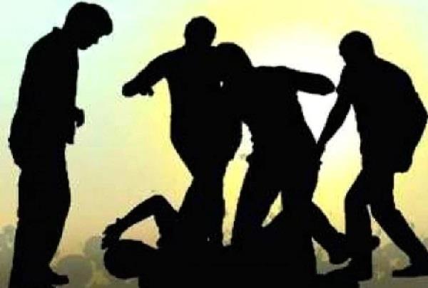hooliganism of drunken people beaten wife and son
