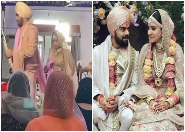 रथ में बैठकर अपनी शादी में नेहा ने मारी एंट्री, अनुष्का शर्मा के वेडिंग ड्रेस को किया काॅपी
