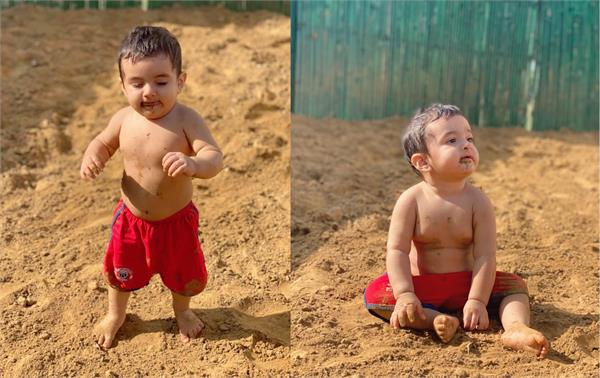 wrestler geeta phogat shared a picture of her son arjun playing in clay