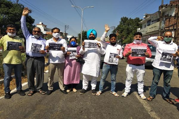 hathras s daughter gets justice congress protests at district headquarters