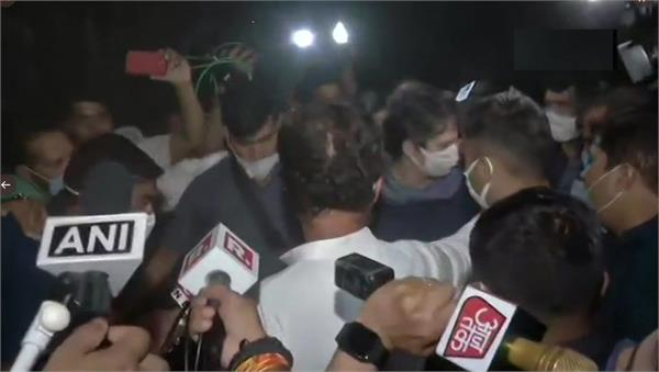 rahul priyanka reached hathras victim s house are talking to family