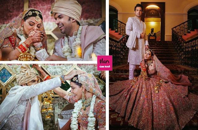 काजल अग्रवाल ने शेयर की शादी की तस्वीरें, पति संग इस अंदाज में दिए पोज