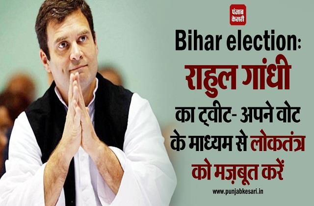 rahul gandhi tweet strengthen democracy through your vote