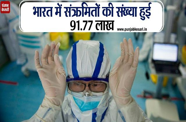 number of infected in india is 91 point 77 lakhs