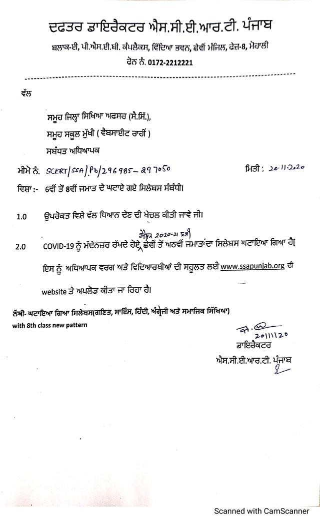 distribution schedule of syllabus reduced from scert vi to 8th grade
