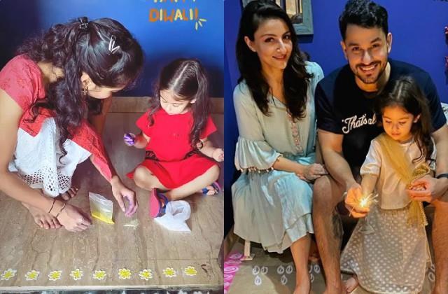 Diwali 2020: नन्हीं इनाया ने बनाई रंगोली, मम्मी सोहा अली खान ने शेयर की  खूबसूरत तस्वीरें inaaya naumi kemmu make rangoli at home mom soha share  pictures bollywood Tadka