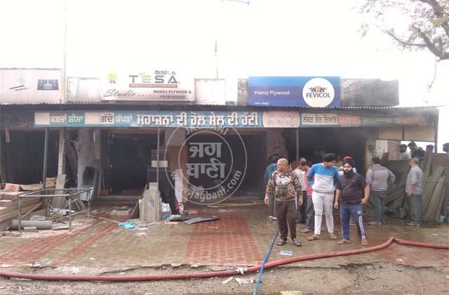 fierce fire at furniture shop in gurdaspur on diwali see photos