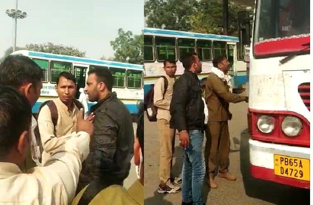 private bus workers scuffle with punjab roadways personnel over time table