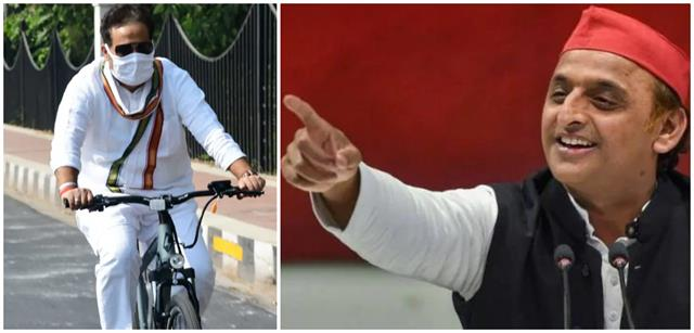 akhilesh s taunt on the energy minister  dramas riding cycles