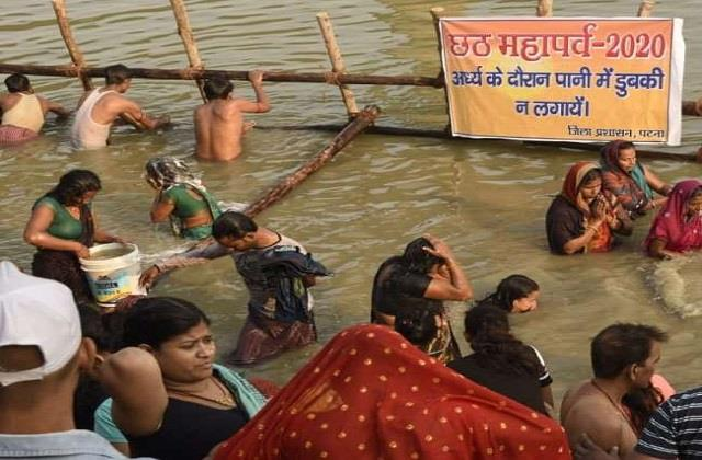 arghya will be offered in 83 ghats and 71 ponds in patna