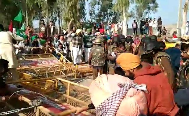 punjab farmers enter haryana after breaking barricade