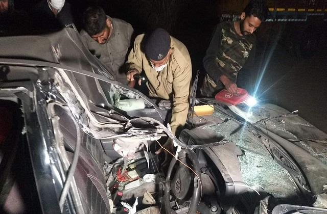 tragic accident car entered into truck standing on national highway