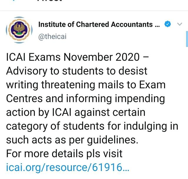ca exam icai warning to students sending threatening emails
