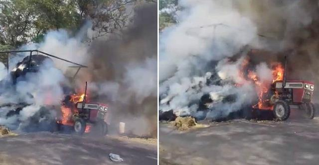 when tractor trolley started burning on road in haryana news