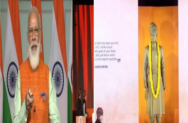 pm modi unveils statue of swami vivekananda in jnu