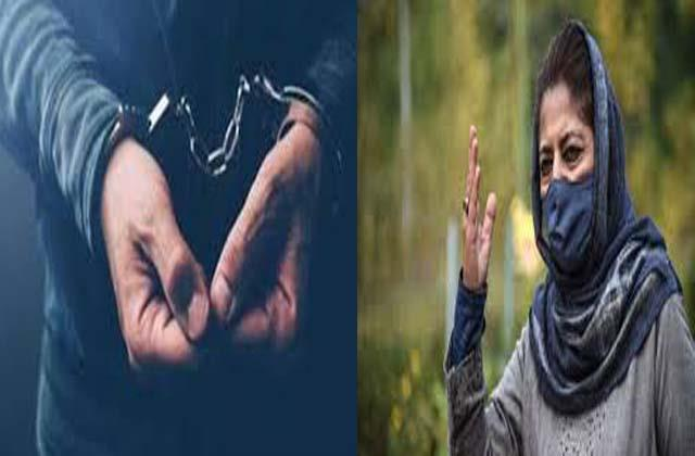 arrest of pdp s youth leader in terrorism case mehbooba condemned