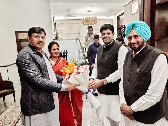 dushyant chautala arrives to congratulate mla babli on the anniversary