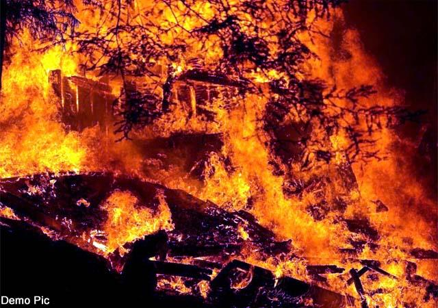 house burnt in forest fire