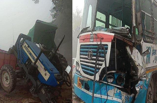 major accident due to haze roadways bus hit tractor filled with sand